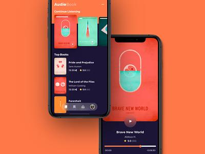 AudioBook Concept ui branding streaming iphone ios book ebook audiobooks artwork minimal sound app music stream listen audible audiobook audio