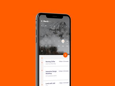 Calendar orange minimal ios ui app background nature planner plan date time add card iphone schedule calendar