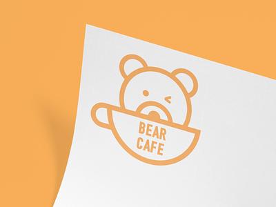 Bear Cafe Logo Concept vector illustration minimal flat cafe logo mascot cute animal logo brand branding cafe branding restaurant food cafe bear