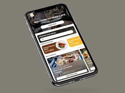 BearCafe Restaurant Mobile Website logo branding restaurant bold fluent design sleek minimal modern cafe branding browser mobile website responsive website responsive cafe bear