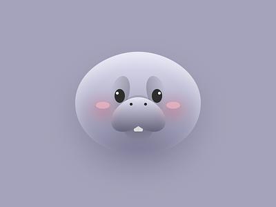 Fat Manatee Illustration (2) emoji head mascot water vector sea ocean manatee logo illustrator illustration icon flat fat animals cute cow animal