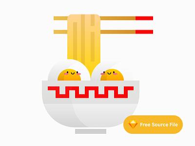 Cute Ramen Pair Illustration sketch freebie logo icon vector flat minimal chopsticks chopstick bowl egg illustrator illustration food chinese noodle ramen cute