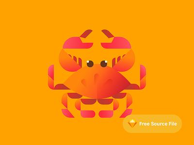 Cute Geometric Crab Illustration color modern gradient sketch freebie illustrator illustration seafood sea lobster crabs crab geometric cute