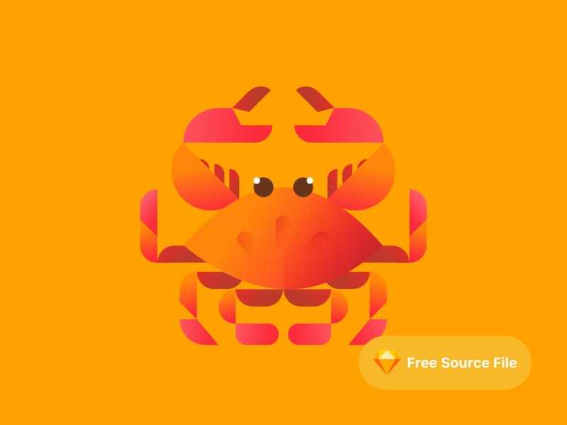 Cute Geometric Crab Illustration color modern gradient sketch freebie illustrator illustration seafood sea lobster crabs crab geometric cute