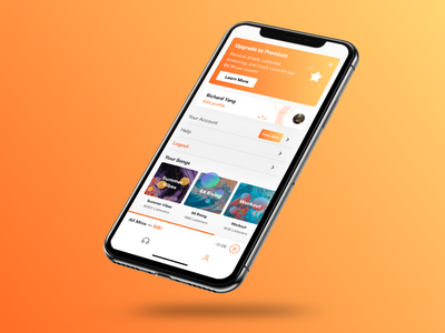 Audio Streaming Profile Page (Upgrade Flow) minimal app soundcloud orange songs audiobook subscription premium purchase podcast streaming listen audio app upgrade page profile stream audio