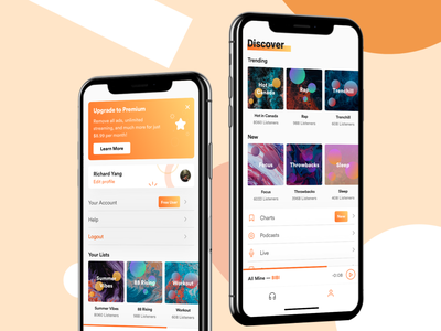 Music Stream Concept hiphop rap redesign iphone gradient modern cover art profile ios browse discover audio stream listen music soundcloud flat minimal