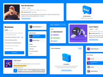Scribr.FM Components abstract ai transcription transcribe pack illustration audio podcasts minimal clean 3d podcast ui stickersheet stickers ui kit ui component components auspre scribr
