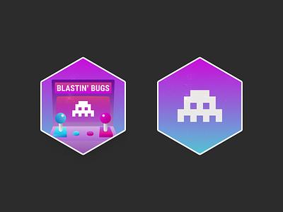 Bug Bashing — Badge Explorations logo icon vector flat minimal branding illustration graphic participation award reward badge hackathon fix bug