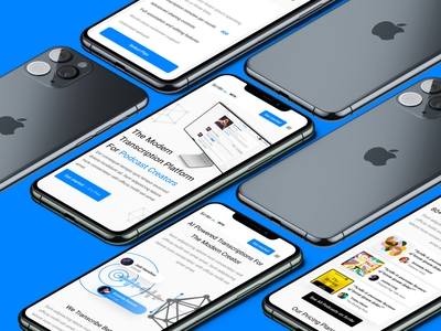 Scribr Responsive Mobile Site visual design apple platform app design 3d iphone ios mockup blue marketing site landingpage podcast mobile responsive scribr