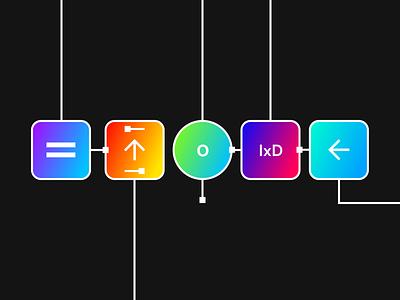 Interaction Design Cover Photo for Medium Article logo flat vector minimal branding colorful color illustrator illustration graphic gradient flowchart flow ixd interaction design interaction