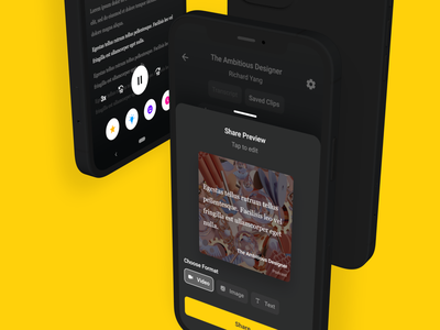 Podcast Transcription + Share Clip Concept app branding stream listen music quote android snippet video growth social share transcription podcast