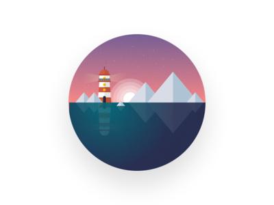 Lighthouse illustration ice ocean mountains motion lighthouse illustrator icon iceberg cold sea