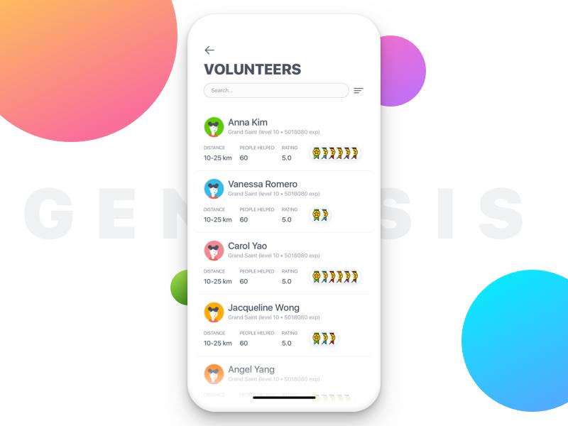 GENESYS – Browse Volunteers (Seeker View) rating profile karma x iphone apple ios mobile list finder task volunteer