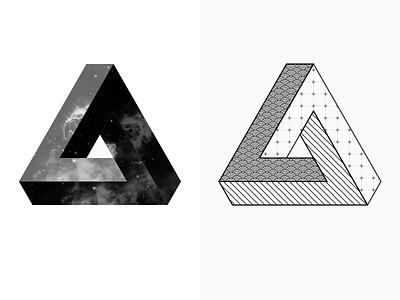 Penrose Triangle Tattoo Idea minimal icon illustration geometric wireframe tattoo penrose triangle impossible idea escher