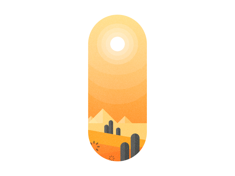 Desert Illustration abstract minimal flat sun orange colorful color illustration cactus sand desert