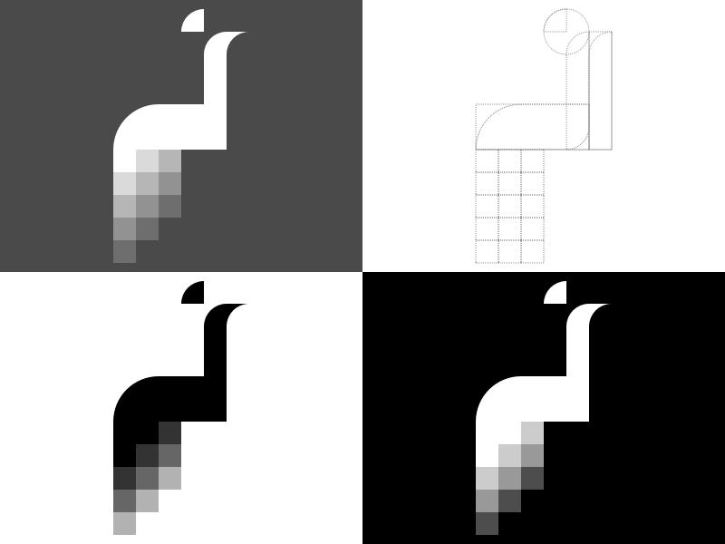 Pixel Peacock Logo Rebound minimal flat shape tutorial icon illustration pixel peacock mark logo grid bird