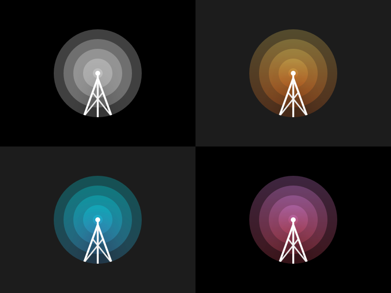 Minimal Radio Illustration flat minimal color gradient icon illustration logo tower signal wave radio
