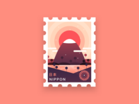 Japan Stamp Rebound warm minimal flat logo icon japan nippon gradient shadow illustration stamp rebound