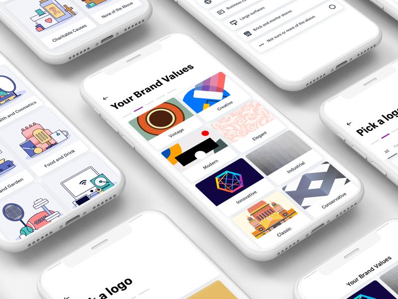New Onboarding Screens for Hatchful mobile maker logo ux ui iphone ios illustration hatchful grid branding app
