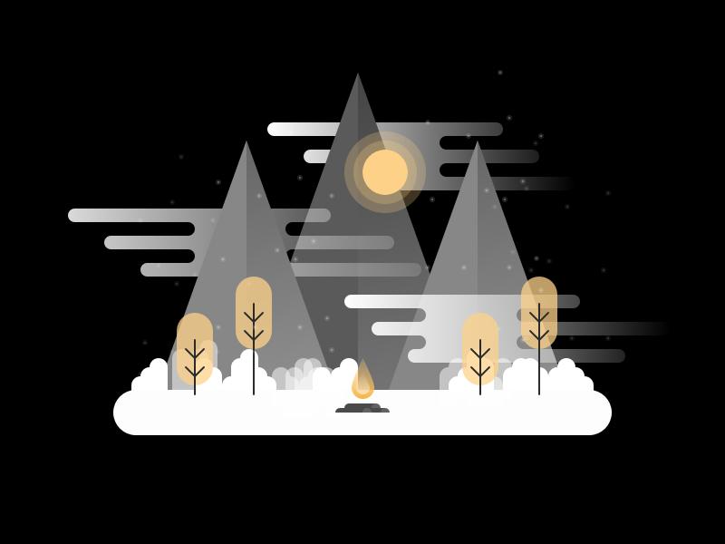 Night Campfire Illustration camp fire tent tree minimal illustration dark night flat icon logo sun