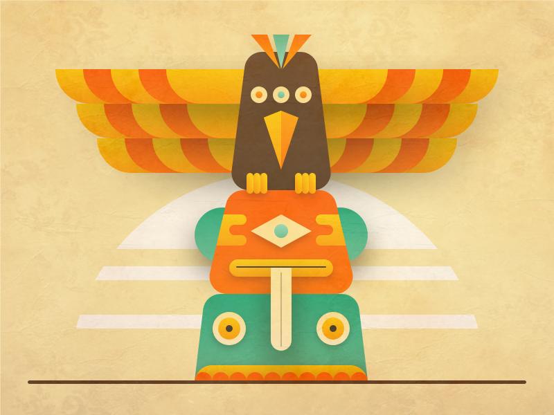 Totem Illustration texture indian logo minimal flat vector icon illustration retro vintage ancient totem