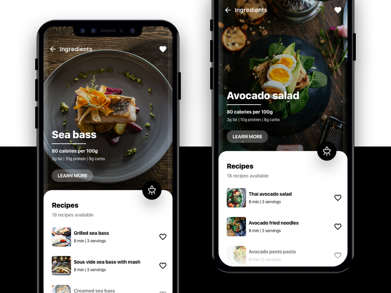 Conceptual Cooking Recipe App cooking food recipe app ios android mobile ui ux interface minimal clean