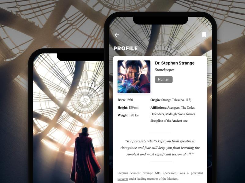 Movie Character Bio Concept read phone ios card detail bio profile avengers strange dr show movie
