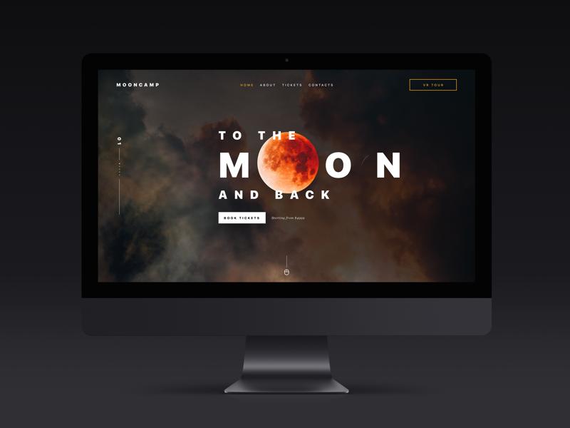 Moon Tour Conceptual Landing Page desktop flight tickets book home page landing website web travel space moon
