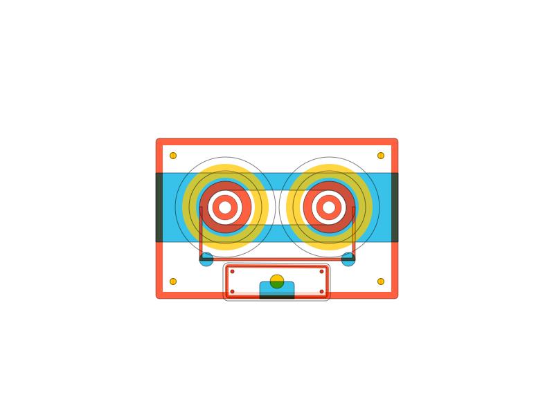 Tape Illustration Rebound logo vector tape outline blending illustration icons icon flat cassette