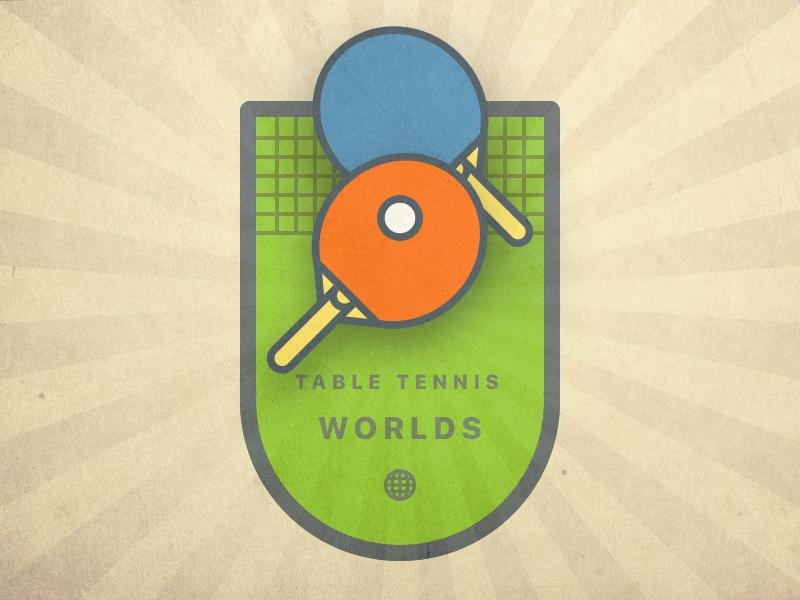 Vintage Pong Logo ping pong ball racket sport logo illustration vector art icon badge crest