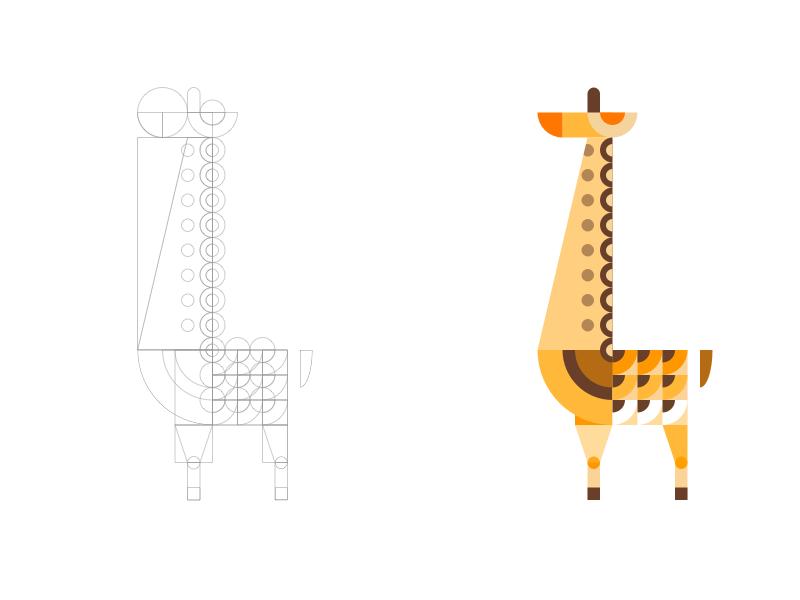 Geometric Giraffe Illustration animal logo icon minimal flat illustration art vector giraffe horse long geometric