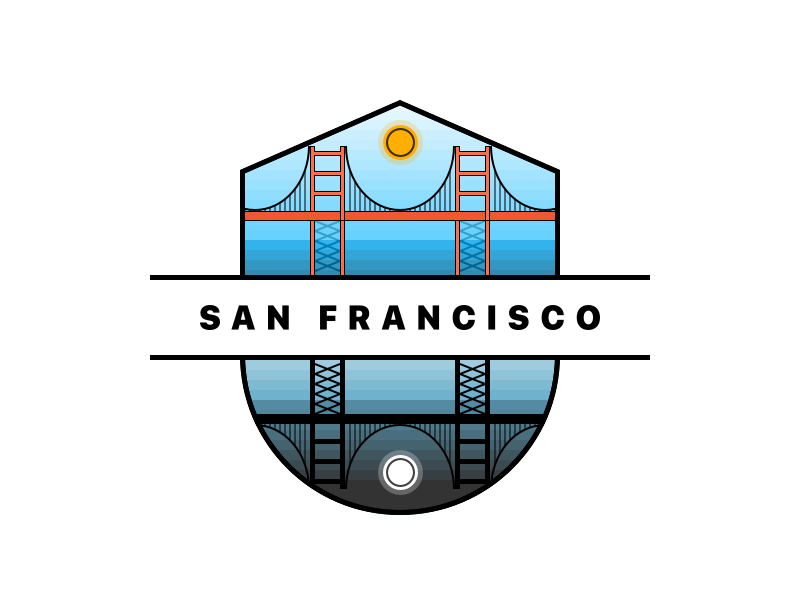 San Francisco Sun & Moon Illustration moon sun night minimal flat sf francisco san logo illustration bridge badge
