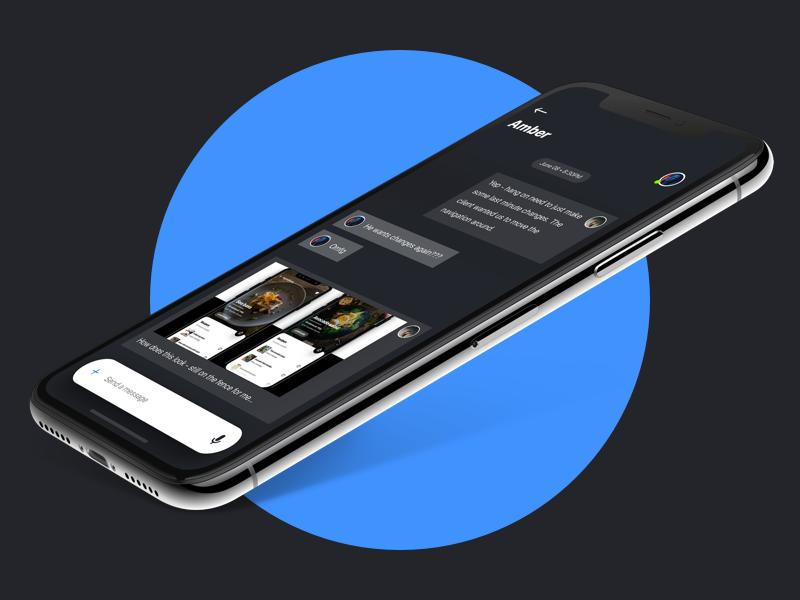 Dark UI Messaging App Concept (WIP) photo phone video call voice chat ios app messenger message ui dark