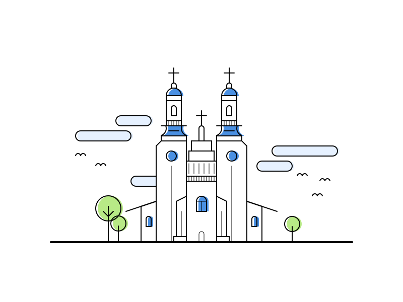Line Stroke Church Illustration color shift vector flat icon illustration tower building church stroke line