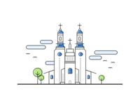 Line Stroke Church Illustration