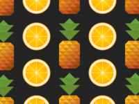 Pineapple and Orange Fruit Wallpaper
