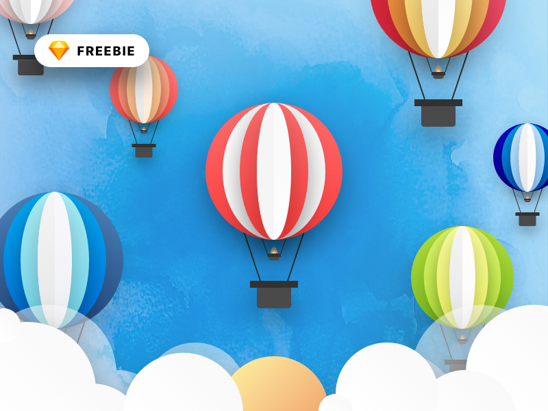 Hot Air Balloon Illustration Freebie color water balloon air hot logo icon illustration vector freebie free