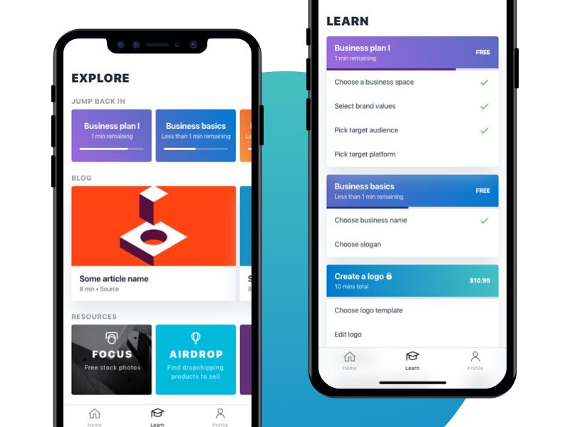 Entrepreneurship Course Concept flat minimal gradient ui mobile app tutorial learn course start business entrepreneur
