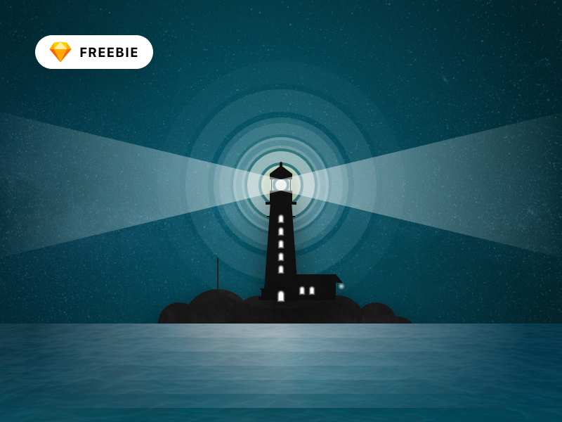 Textured Lighthouse Illustration minimal flat logo icon dark night vector illustration lighthouse house light texture