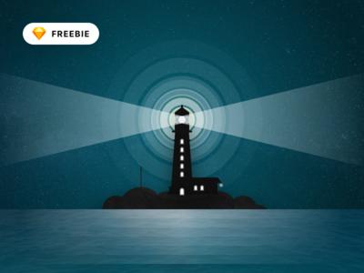 Textured Lighthouse Illustration
