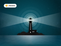 Textured Lighthouse Illustration