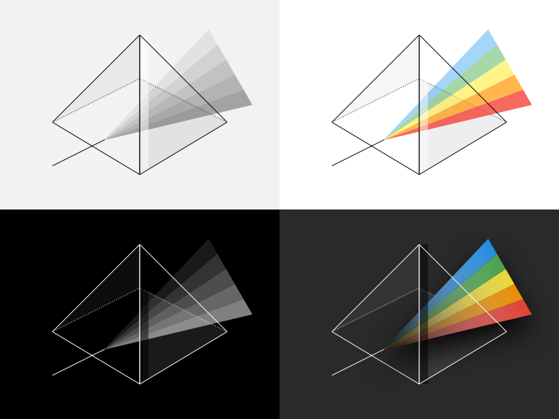 Rainbow Prism Illustration refraction reflection triangle prism illustration geometric shape rainbow vector mark icon logo