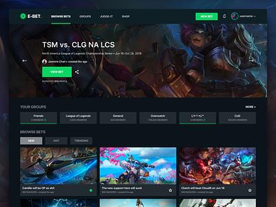 E-sports Gaming Betting Platform graphic site website web dark bets bet gamer gaming game sport esports