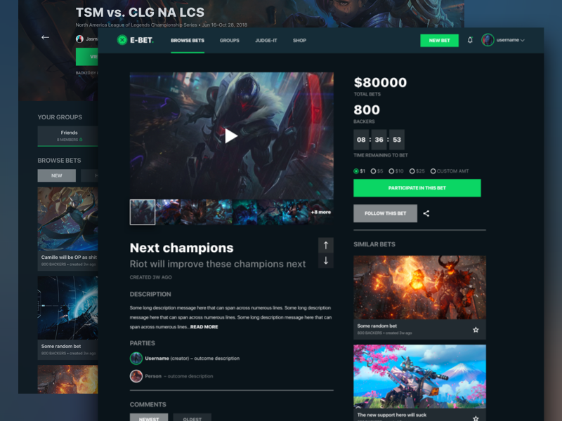 E-sports Gaming Betting Platform - Continued esports sport game gaming gamer bet bets dark web website site graphic
