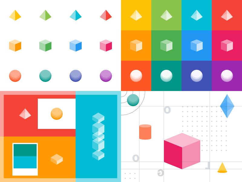 Artboarding WIP Process pop inspiration artboard moodboard isometric shape colorful color geometric
