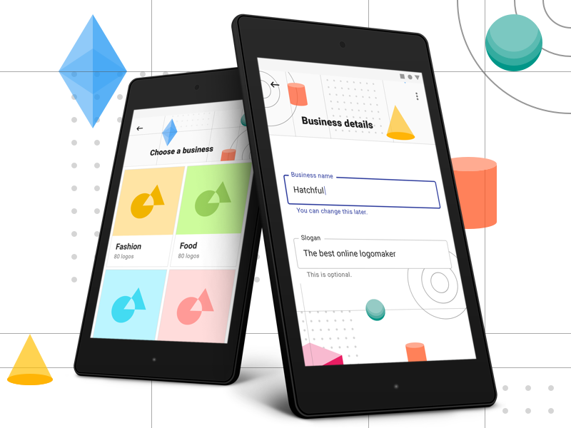 Material Design Exploration ui ux app tile card form 3d shape geometric android google material
