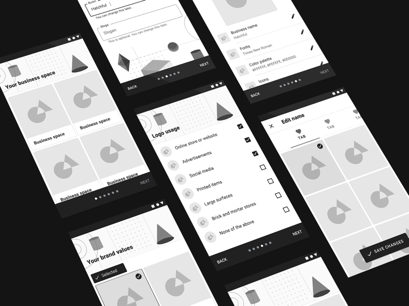 Material 2.0 Wireframes Continued sketch rough wireframe list app 3d shape geometric android google material
