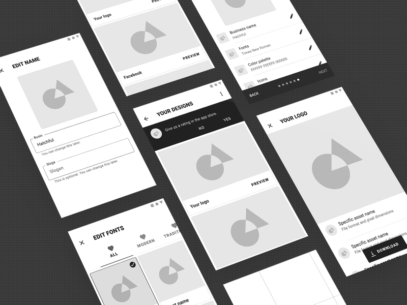 Material 2.0 Wireframes Continued 2 material google android geometric shape 3d app list wireframe rough sketch
