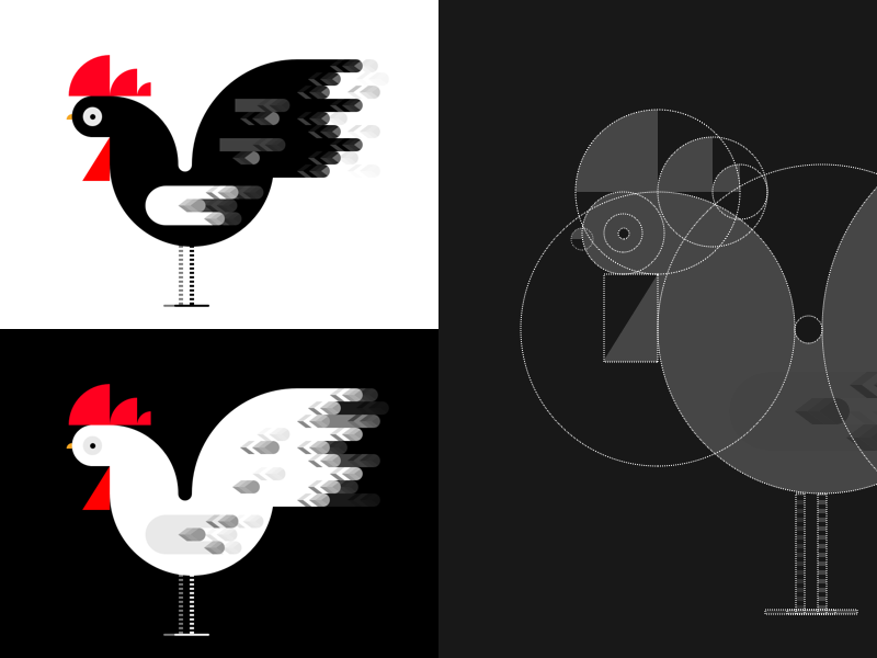 Rooster Illustration vector icon logo tutorial wireframe egg barn farm chicken rooster animal geometric