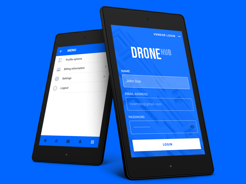 Login Screen + Settings blue form signup login hub drone booking android google material